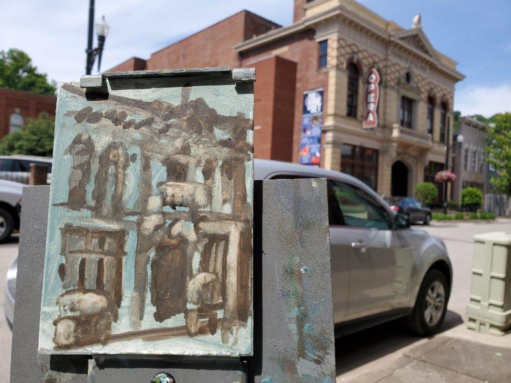 underpainting of the opera house in maysville kentucky by artist ken swinson