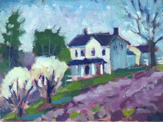 plein air painting of a white house with purple field by kentucky artist ken swinson