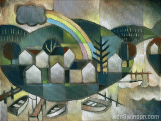 folk art abstract style painting of boats docked at a bend in the river next to a village with a rainbow overhead