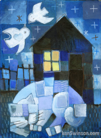 folk art abstract style painting of a cat sleeping outside blue