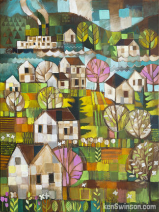 folk art abstract style painting of the river with houses and flowers a paddle boat and river in the spring
