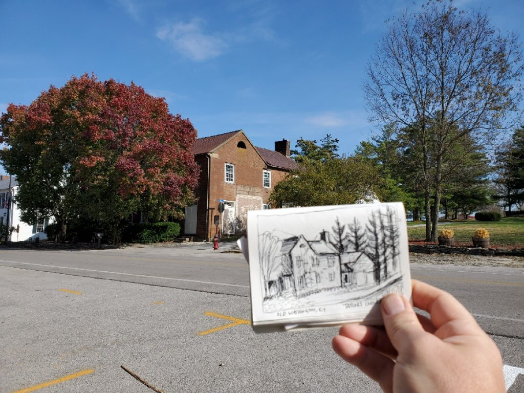 sketch of Taylor's corner in Old Washington, Kentucky