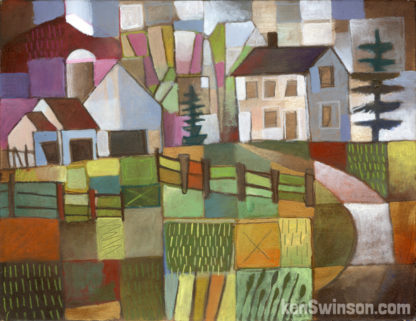 abstract folk art style painting of a country road leading to a house and barn with purple hills in the distance