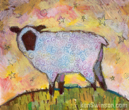 folk art style painting of a sheep on a hill