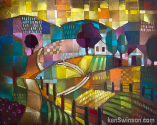 colorful abstract style folk art painting of a country sceen with house and barn in the distance