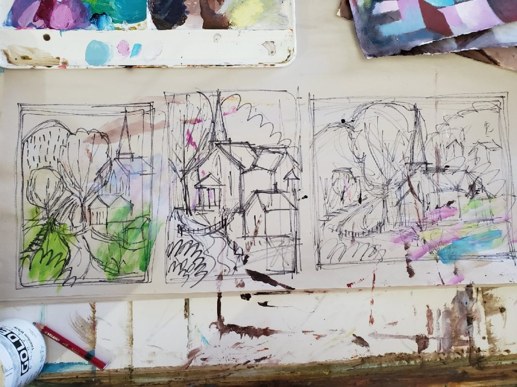 3 sketch studies of a church in vicco kentucky