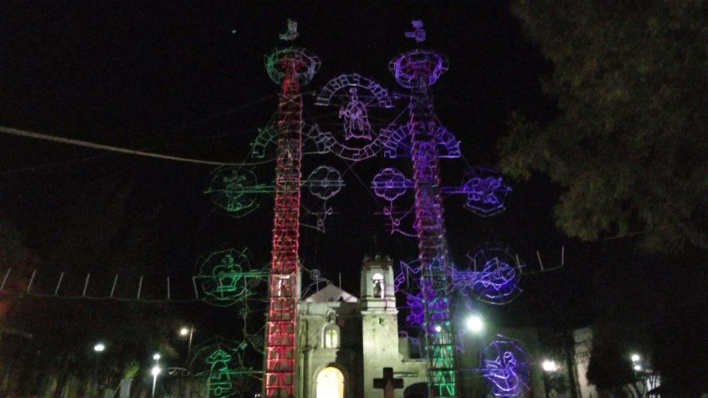 firework display at night in san pable huitzo oaxaca mexico