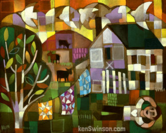 colorful folk art abstract style painting of a boy laying in the grass looking at birds with a house and laundry hanging on the line