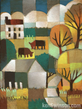 colorful folk art style painting of winding country road with a barn, two cows and house