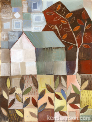 folk art style painting of barn in cornfield