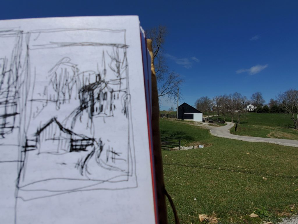 sketch of a barn and house in rural mason county kentucky