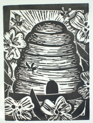linocut notecard of beehive surrounded by bees and flowers