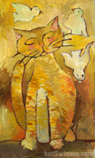 folk art style painting of yellow cat with birds