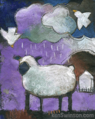 purple folk art style painting of a sheep standing in the rain