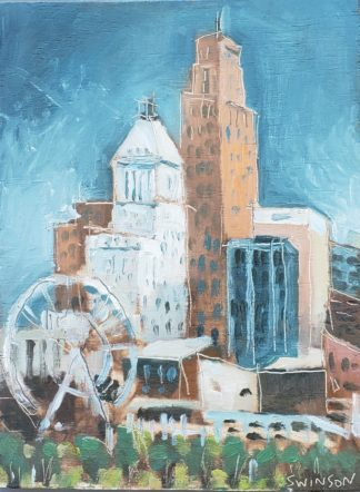 plein air painting of cincinnati skyline with ferris wheel and freedom center, carew tower