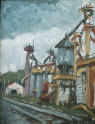 plein air painting of the grain mill in corning arkansas