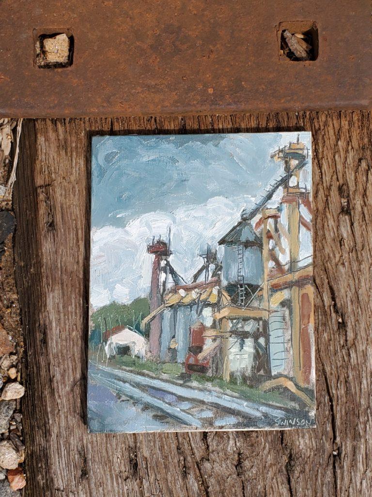 plein air painting of grain mill in corning arkansas