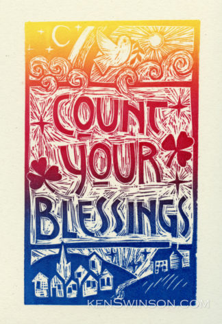 colorful folk art style linocut with text count your blessings