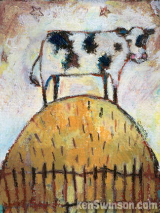 Folk Art Style painting of cow on top of a hill