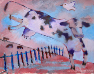purple folk art style painting of a cow jumping over a fence