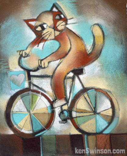folk art painting of cat on bicycle