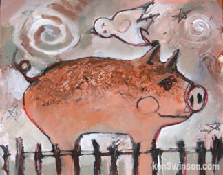 folk art style painting of a pig in a pen