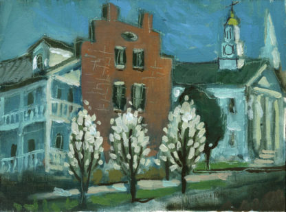 plein air painting by artist ken swinson of flowering dogwoods at phillips folley in maysville kentucky