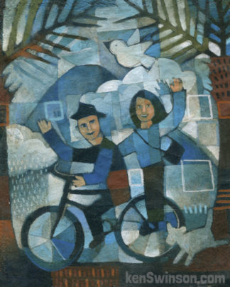 folk art style painting of a man and woman riding a bicyle together. with mountains and a bird in the background