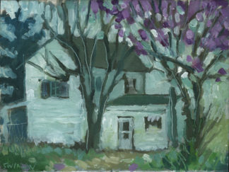 plein air painting of flowering purple trees in old washigton kentucky by artist ken swinson