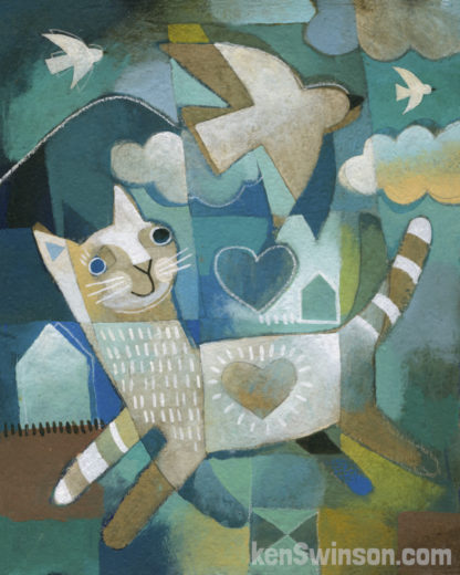 folk art style painting of a cat with bird and house in the background