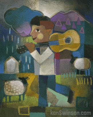 folk art abstract style painting of a box carrying a guitar over his shoulder with mountains and a sheep in the background