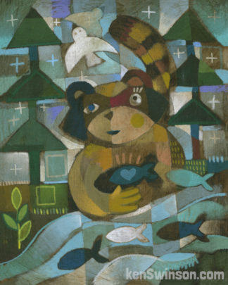 folk art style abstract painting of a raccoon fishing from a stream