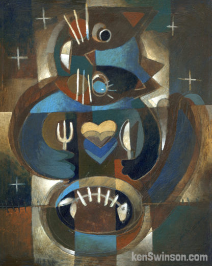 abstract folk art style painting of a cat with fish bone in it's bowl