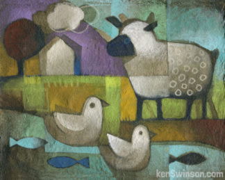 folk art style painting of a sheep visiting two ducks in a river