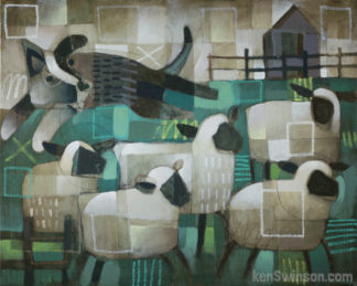 abstract folk art style painting of sheep dog with sheep
