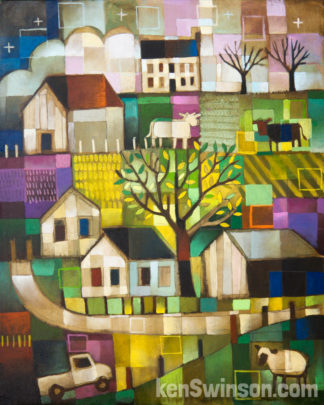 folk art abstract style painting of a rural country scene with a road through hills with sheep, cows barns and a farm house