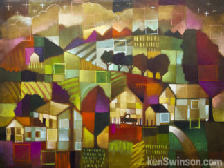 colorful painting of a hilly rural kentucky farmscape