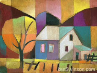colorful folk art abstract style painting of a house by a yellow tree with purple hills in the background