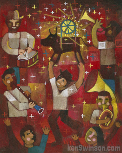 folk art abstract style painting of man holding bull with fireworks and drum and horn musicians