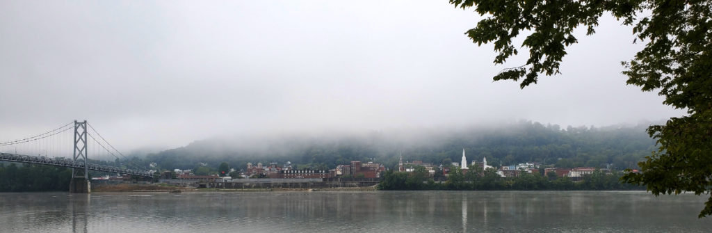 foggy river view of Maysville Kentucky from Aberdeen park in Ohio