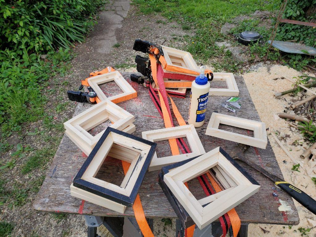 assorted wood frames being glued