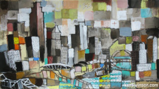 folk art abstract painting of cincinnati ohio's skyline