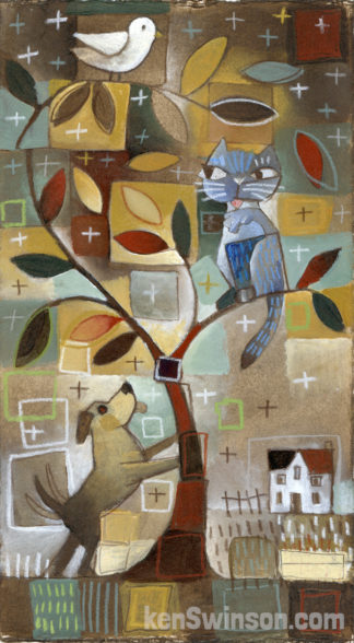 folk art style painting of a dog cat and bird in and below a tree