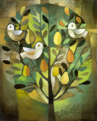 abstract folk art style painting of fruit tree with white birds in it