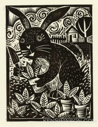 woodcut of rabbit planting new plants