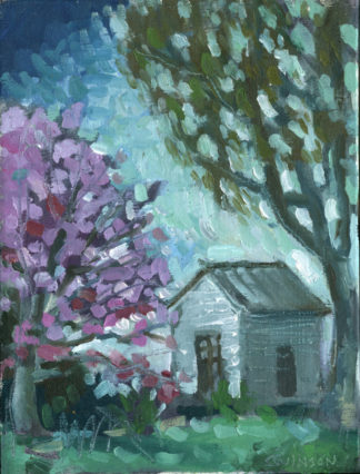 plein air paining by ken swinson of garden shed with flowering tree
