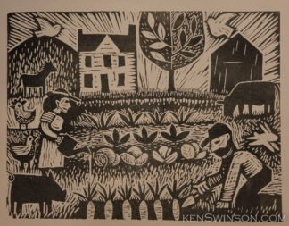 linocut of man and woman working in garden