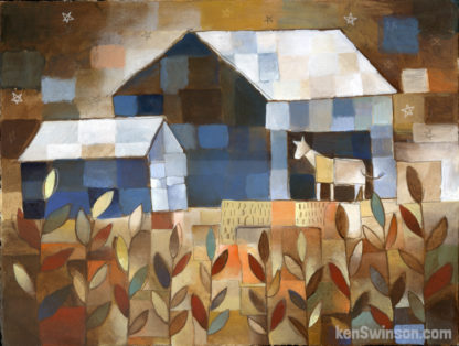 abstract folk art style painting of horse in barn