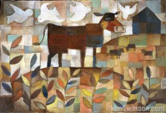 abstract folk art style painting of 4 cows grazing on a hill