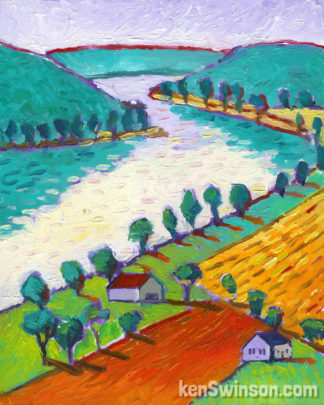 colorful folk art style painting of a bend in the river from a high up perspective